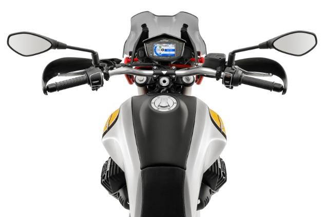 Yellow-Moto-Guzzi-V85-TT-handlebars-close-up