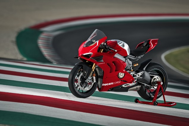 Red ducati panigale V4 R stationary