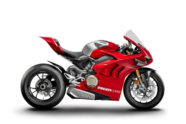 Red Ducati Panigale V4 R motorcycle stationary