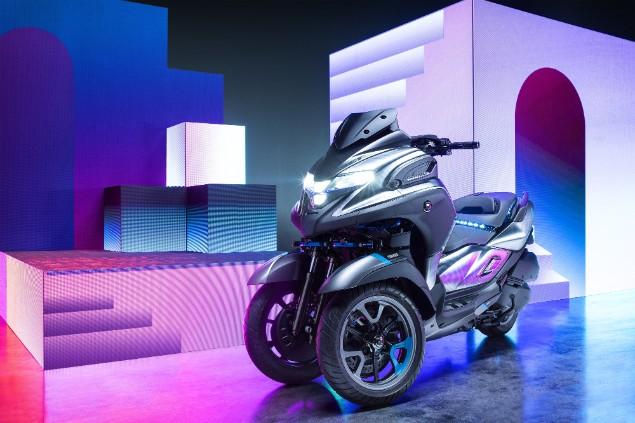 Three wheeled Yamaha 3CT concept motorcycle stationary