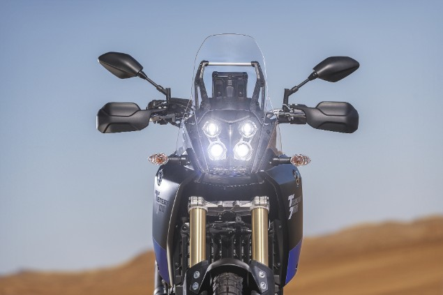 front view of Yamaha Tenere 700 with four LED lights switched on
