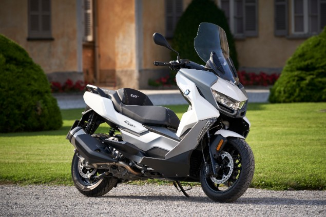 White and silver BMW c400GT scooter stationary