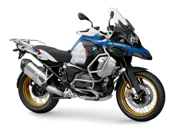 Blue 2019 BMW R1250GS Adventure motorcycle stationary