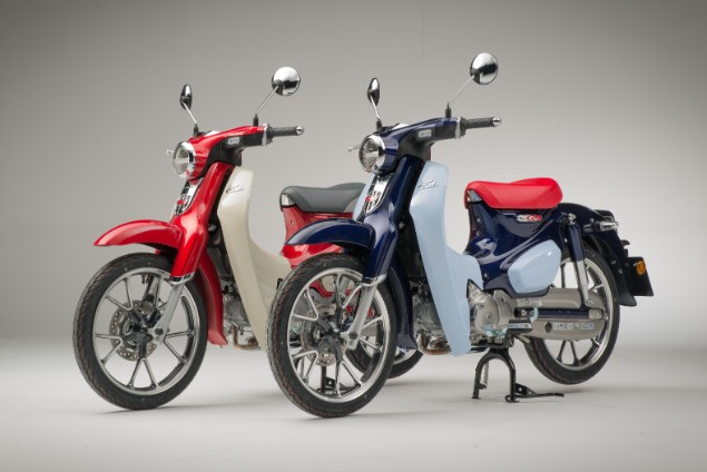 Two Super CUB studion motorcycles stationary