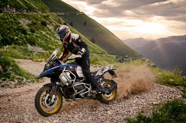 Blue 2019 BMW R120GS motorcycle in action on top of mountain