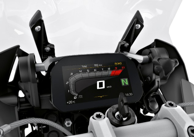 Close up shot of 2019 BMW R1250GS Adventure motorcycle speedometer