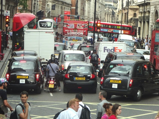 Busy traffic conjunction in London city centre