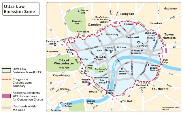 ULEZ map of London 2018