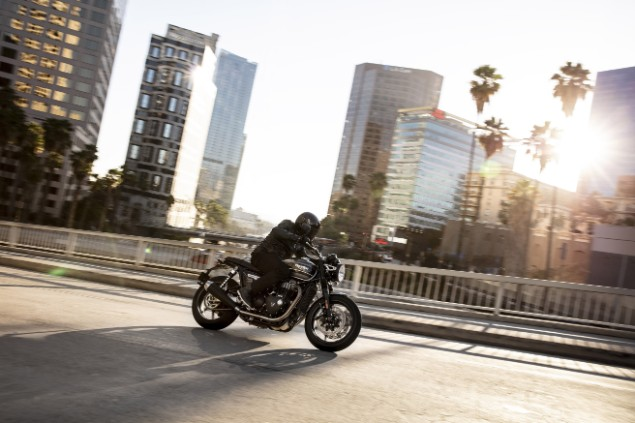 2019 Speed Twin motorbike in action