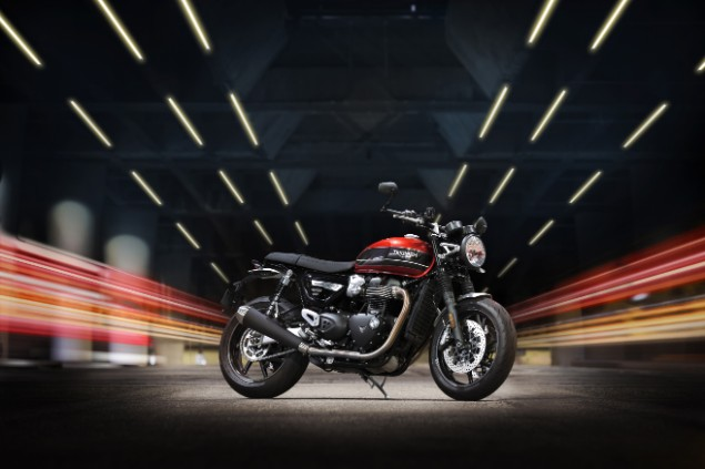 Red 2019 Triumph Bonneville Speed Twin motorcycle static