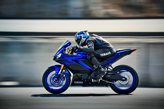 Blue 2019 Yamaha YZF-R3 motorcycle in action