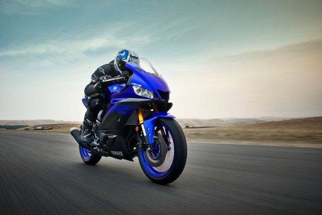 Blue Yamaha YZF-R3 motorcycle in action