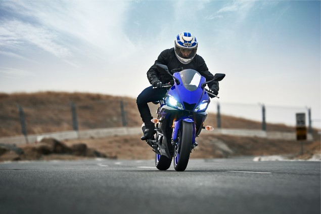 Blue 2019 Yamah YZF-R3 motorbike riding