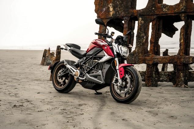 Zero SR/F motorcycle stationary on beach