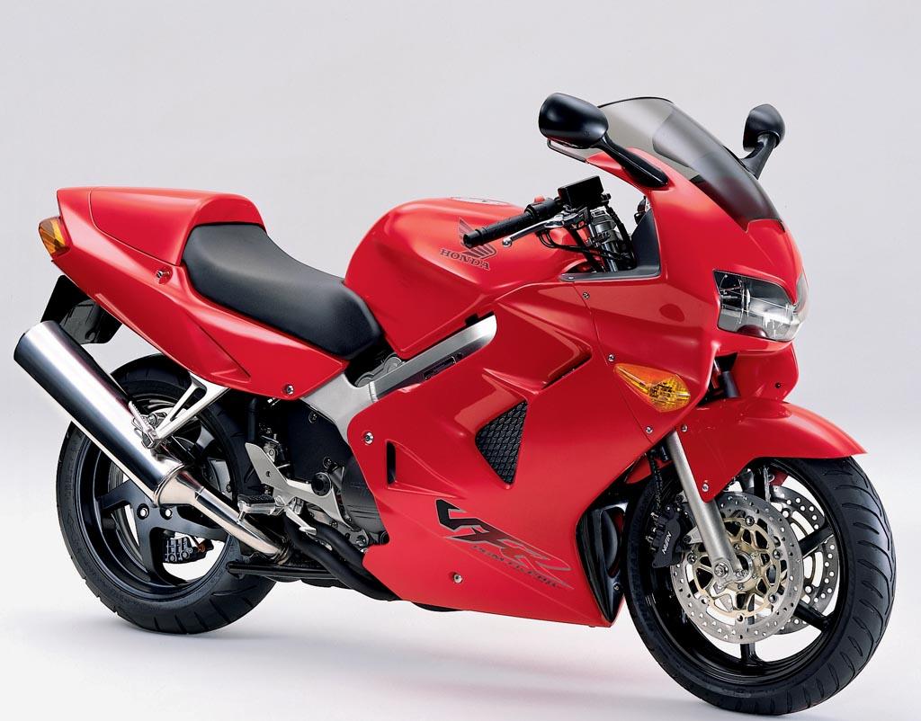Red Honda VFR800 motorbike stationary
