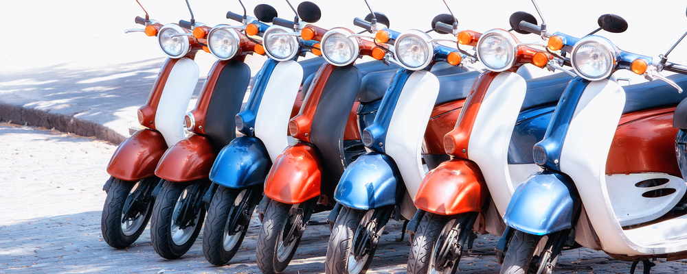 row of mopeds