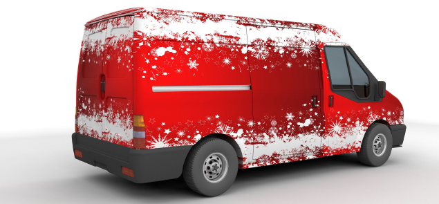 Red christmassy van