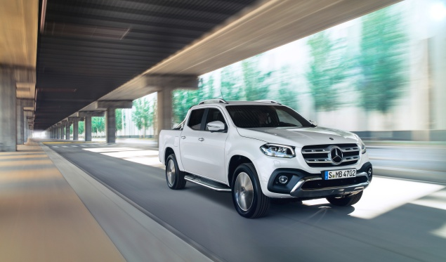 Mercedes-Benz white X-Class pick-up truck