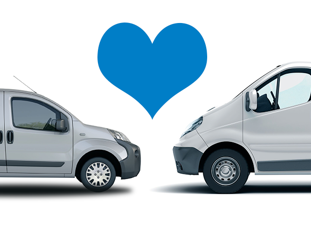 Two white vans, nose-to-nose with love heart in between
