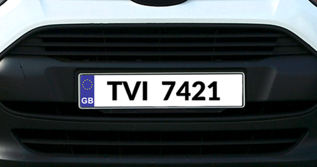 Close up of a van numberplate