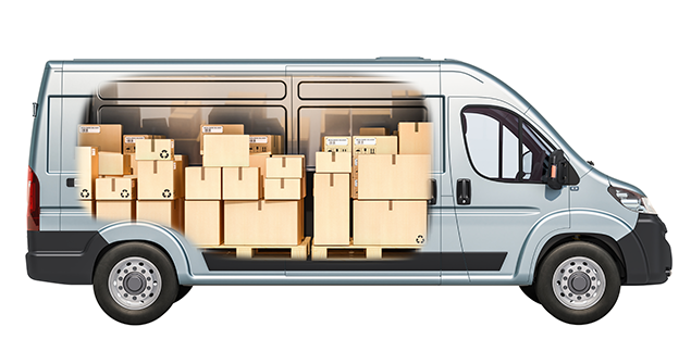 boxes stacked inside van