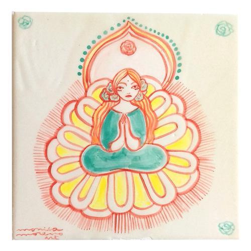 Azulejo grande diosa en flor