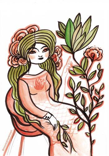 Ilustración Diosa de las plantas - Formato A5