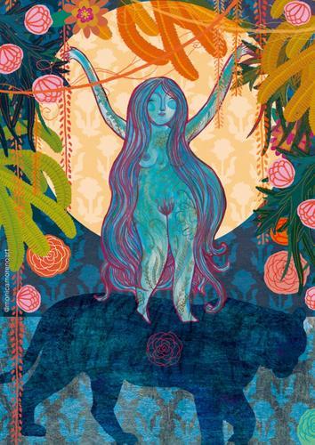 Ilustración Diosa Durga tamaño A4