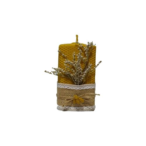 Velón de Cera Pura de Abeja adornada con Flores Secas