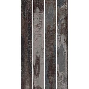 אריח גרניט פורצלן דקורטיבי בסגנון וינטג' עתיק R10 תוצרת איטליה גימור מט גוונים אפורי 15x120