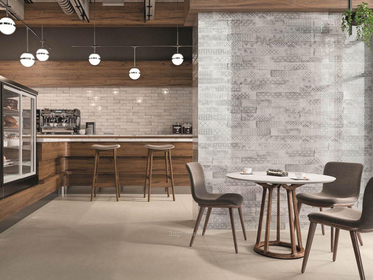 אריח בריק לחיפוי קירות גוף לבן גוון בז גימור מבריק 7.5x30 תוצרת ספרד