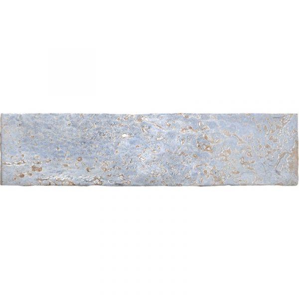 אריח בריק לחיפוי קירות גוף לבן גוון תכלת/כחול גימור מבריק 7.5x30 תוצרת ספרד