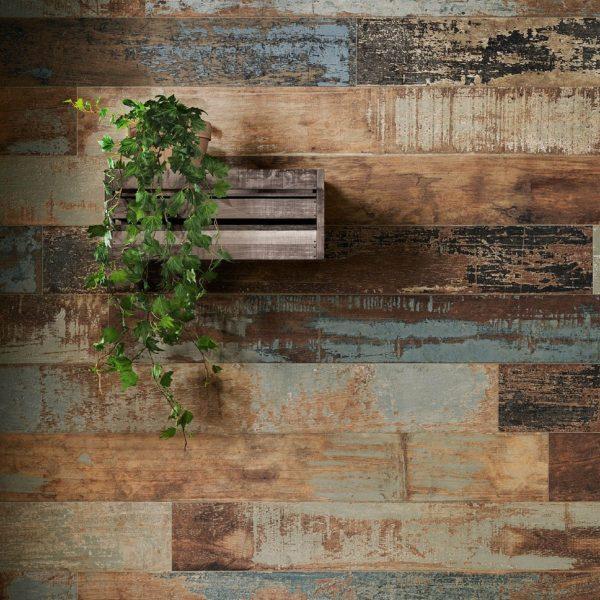 אריח גרניט פורצלן דקורטיבי בסגנון וינטג' עתיק R10 תוצרת איטליה גימור מט גווני ברונזה / כחול /חום 15x120