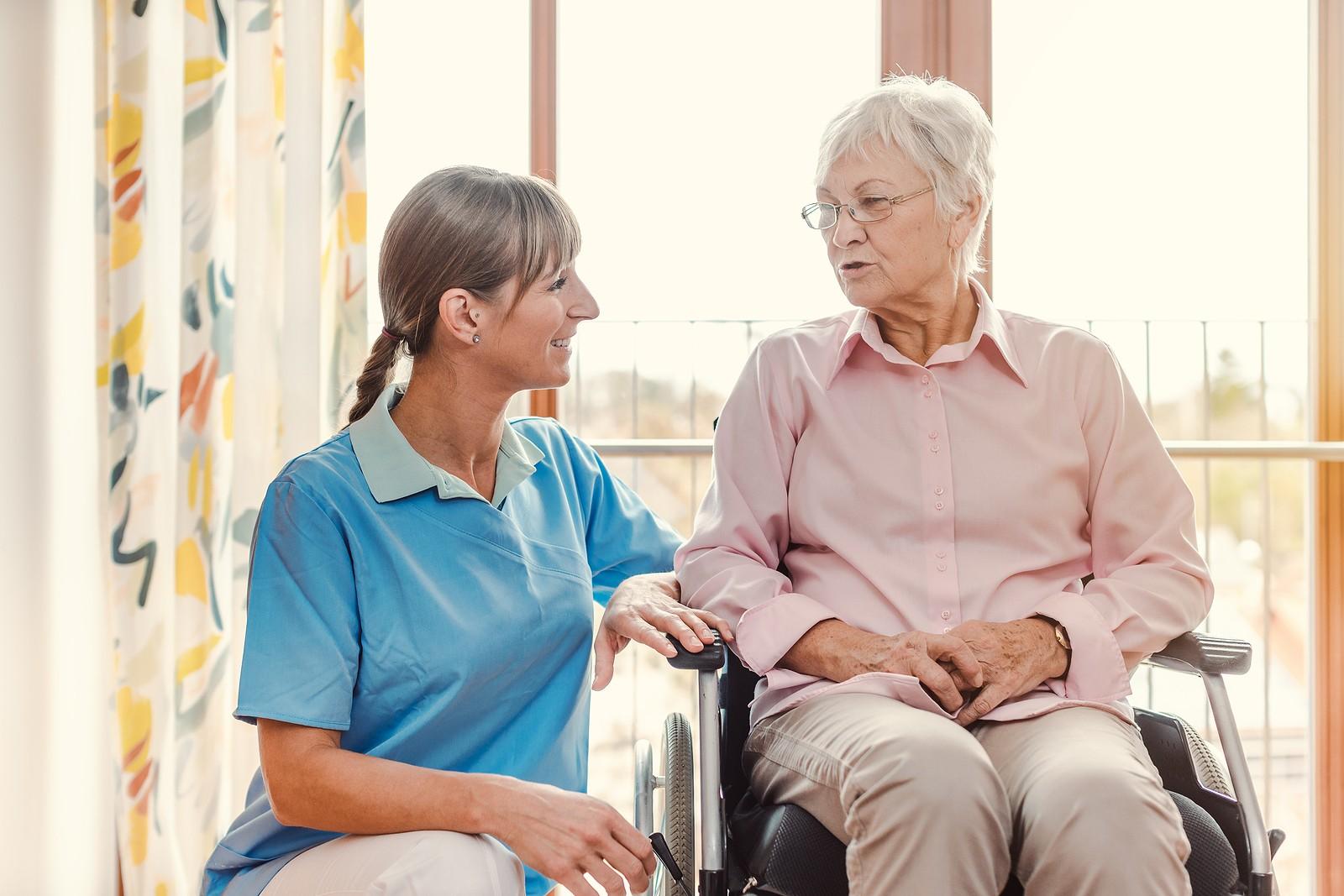 Caregiver with senior woman.