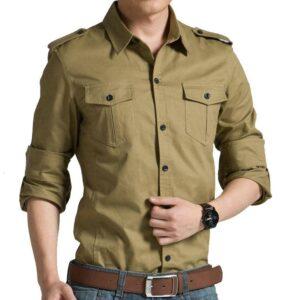 2018 Spring Autumn Casual Cotton Men Shirt Long Sleeve Slim Mens Shirt Londoners Vanity Men's Plus Size formal Shirts Mens Plus Size Color: Khaki Size: Asian Size 3XL