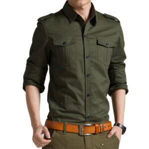 2018 Spring Autumn Casual Cotton Men Shirt Long Sleeve Slim Mens Shirt Londoners Vanity Men's Plus Size formal Shirts Mens Plus Size Color: Army Green Size: Asian Size XL