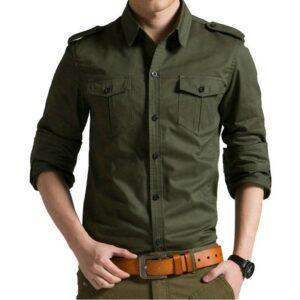 2018 Spring Autumn Casual Cotton Men Shirt Long Sleeve Slim Mens Shirt Londoners Vanity Men's Plus Size formal Shirts Mens Plus Size cb5feb1b7314637725a2e7: Army Green Khaki