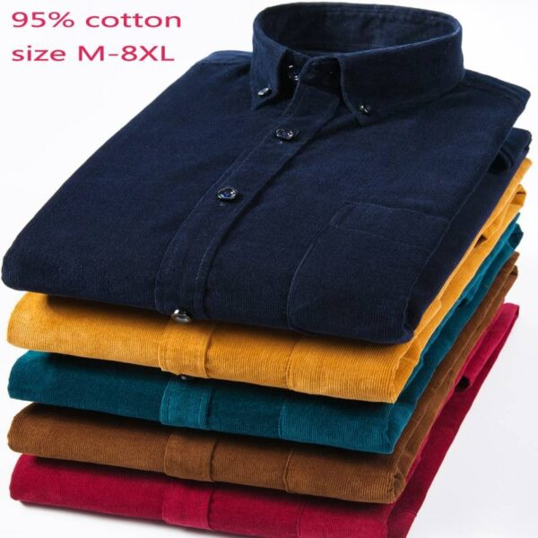 New Arrival Fashion Super Large Pure Cotton Corduroy Autumn Men Long Sleeve Casual Loose Large Casual Shirts Plus Size M-7XL 8XL Londoners Vanity Men's Plus Size formal Shirts Mens Plus Size cb5feb1b7314637725a2e7: Dark Brown|Dark Green|light blue|navy blue|Wine Red|Yellow
