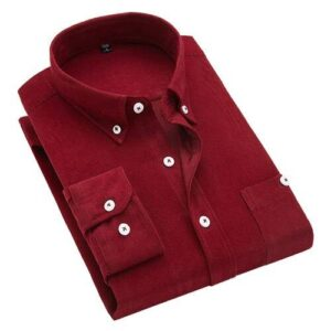 2018 autumn and winter new British wind corduroy solid color shirt men's long-sleeved wild large size shirts M-5XL Londoners Vanity Men's Plus Size formal Shirts Mens Plus Size Color: Red Wine Size: XXL for 68-74 kg