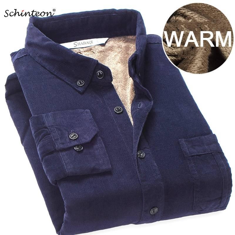 Warm Winter Shirt Solid Fleece Corduroy Casual Fashion Male Full Sleeve Shirts
