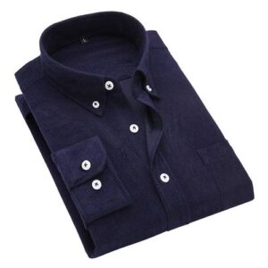 2018 autumn and winter new British wind corduroy solid color shirt men's long-sleeved wild large size shirts M-5XL Londoners Vanity Men's Plus Size formal Shirts Mens Plus Size Color: navy blue Size: 3XL for 75-81 kg