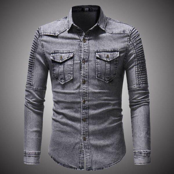 2018 Spring Autumn High Quality Denim Shirt Men Casual Long Sleeve Fit Slim Personality Pocket Black Blue Hombre Blouse D2868 Londoners Vanity Men's Shirts Mens Fashion cb5feb1b7314637725a2e7: Blue|Gray