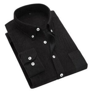 2018 autumn and winter new British wind corduroy solid color shirt men's long-sleeved wild large size shirts M-5XL Londoners Vanity Men's Plus Size formal Shirts Mens Plus Size Color: Black Size: XL for 61-67 kg