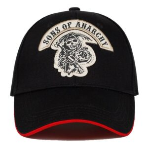 2018 new Baseball Cap SOA Sons of Anarchy Skull Embroidery Casual Snapback Hat Fashion High Quality Racing Motorcycle Sport Londoners Vanity Men's hats & cap Mens Fashion Color: black 1