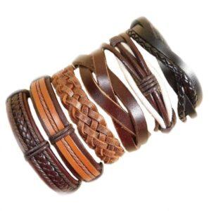 Wholesale 10PCS/lot (Random 10pcs ) Mix Styles Braided Bracelets Or 6pcs Leather Bracelets For Men Wrap Bangle Party Gifts MX5 Jewelery & Apparel Mens Apparel Mens Bracelet Metal Color: D53 - 6PCS