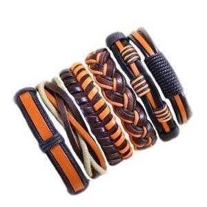 Wholesale 10PCS/lot (Random 10pcs ) Mix Styles Braided Bracelets Or 6pcs Leather Bracelets For Men Wrap Bangle Party Gifts MX5 Jewelery & Apparel Mens Apparel Mens Bracelet Metal Color: D90 - 6PCS
