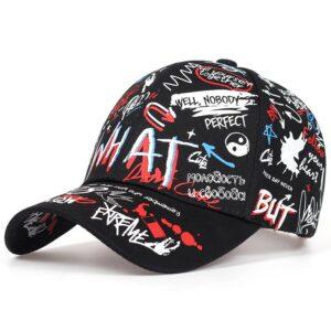 2019 new Fashion Graffiti printing Baseball Cap Outdoor cotton Shade Hat men women Summer Caps adjustable Leisure hats Bullet Cheetah Our British Brands Selected Brands Color: Black