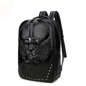 3D Wolf PU Leather Backpack Unisex Backpack Waterproof Men Women School Bags Our British Brands Selected Brands Timelord Clothing UK cb5feb1b7314637725a2e7: Black|Gold|Silver
