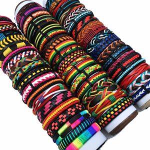 Wholesale 10PCS/lot (Random 10pcs ) Mix Styles Braided Bracelets Or 6pcs Leather Bracelets For Men Wrap Bangle Party Gifts MX5 Jewelery & Apparel Mens Apparel Mens Bracelet Metal Color: Multi-color-Random10