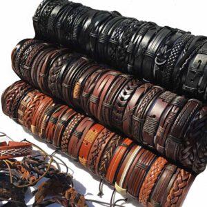 Wholesale 10PCS/lot (Random 10pcs ) Mix Styles Braided Bracelets Or 6pcs Leather Bracelets For Men Wrap Bangle Party Gifts MX5 Jewelery & Apparel Mens Apparel Mens Bracelet Metal Color: BlackBrown-Random 10